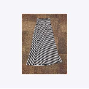 Black and white striped maxi skirt
